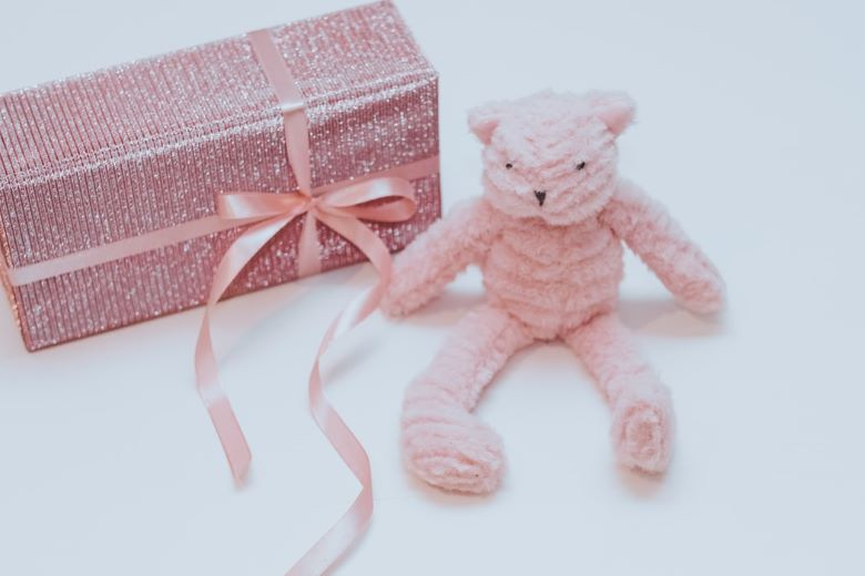 pink gift with a pink teddy toy