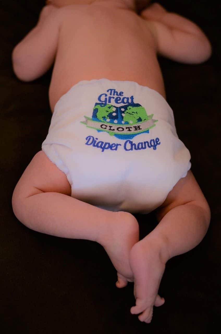 A baby with a cute cloth diaper