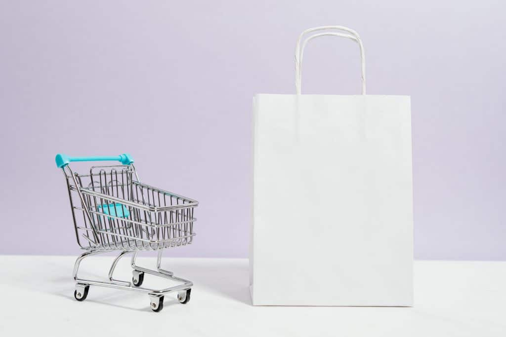 Mini Cart with white paper bag