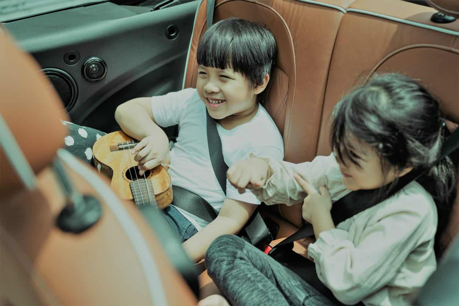 2 siblings sitting in a care with seat belts